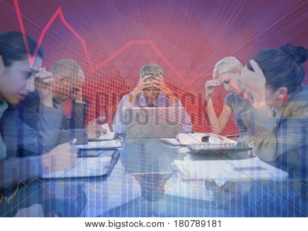 Digital composite of Stressfull business meeting with chart graphic overlay against red background