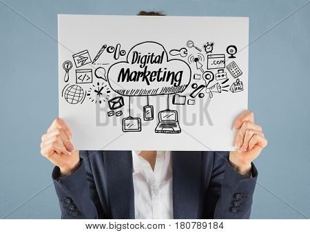 Digital composite of Businesswoman holding card with digital marketing drawings graphics