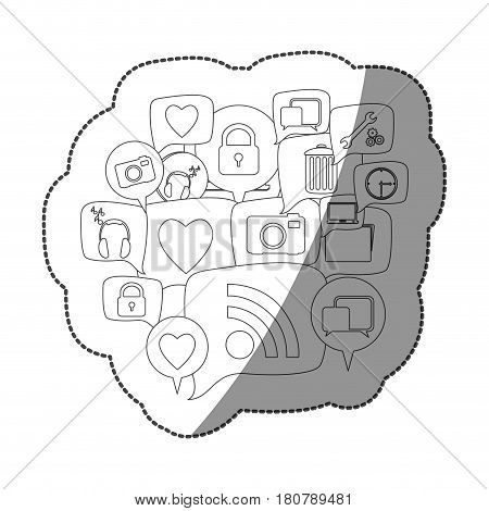 sticker silhouette set collection dialogue social icons vector illustration
