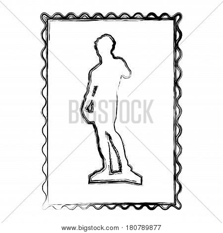 blurred contour frame of sculpture david made by buonarroti vector illustration