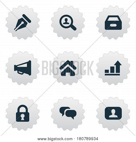 Vector Illustration Set Of Simple Business Icons. Elements Megaphone, Magnifier, Home And Other Synonyms Interlocutor, Nib And Pen.