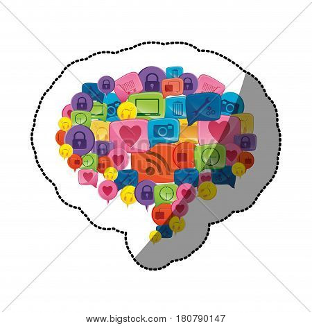 sticker colorful pattern dialog shape formed by stacked callout social icons vector illustration