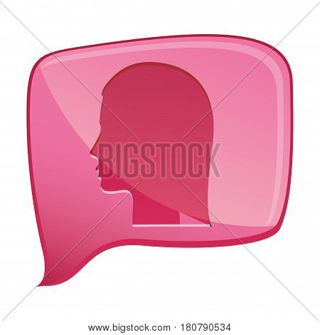 colorful relief rectangular speech with silhouette female head vector illustration