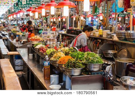Seoul, South Korea - April 2, 2017: Locals and tourists at Noryangjin Fisheries Wholesale Market, an extensive farmers fish market in the neighborhood of Noryangjin-dong in Dongjak-gu, Seoul.