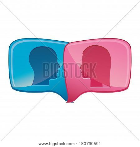 colorful relief rectangular speech with dialogue between man and woman vector illustration