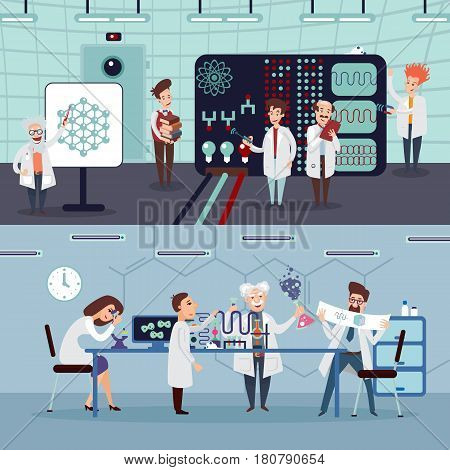 Scientific research horizontal banners with group of scientists doing experiments and tests in laboratory vector illustration