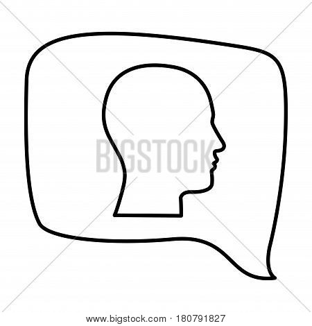 silhouette relief rectangular speech with silhouette male head vector illustration