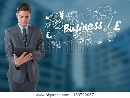 Digital composite of Businessman on tablet with Business text with drawings graphics