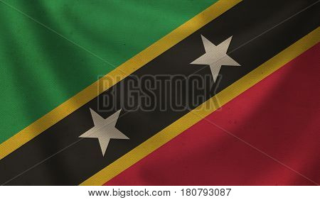Vintage background with flag of Saint Kitts. Grunge style.