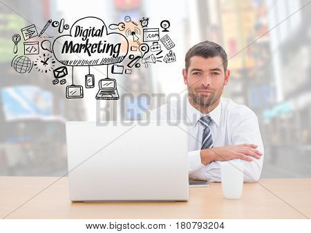 Digital composite of Man with laptop and Digital Marketing text with drawings graphics
