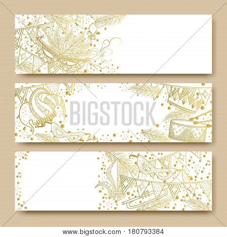 Mardi Gras or Shrove Tuesday cards with golden color. Carnival mask and crowns, fleur de lis, feathers. Perfectly fit for banner, invitation, party. Vector illustration