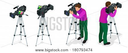 Professional digital video camera and Cameraman. Flat 3d isometric illustration for infographics and design. Camcorders and Equipment