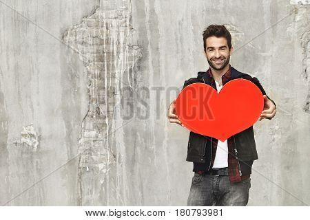 Love heart held buy dude portrait studio