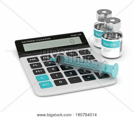 3D Render Of Syringe, Vaccine Vials And Calculator