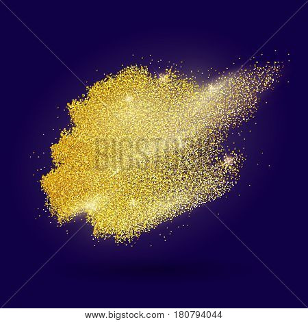 Abstract vector stippling gold brush. Gold shining background. Glitter template