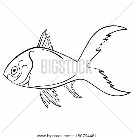 Ink sketch fish quirky drawing Vector Illustration