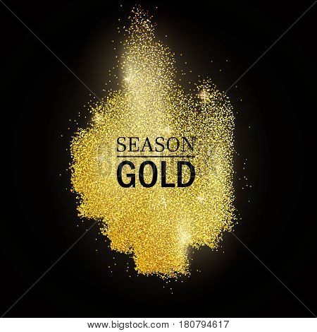 Abstract vector stippling gold frame Gold shining background. Glitter template blot