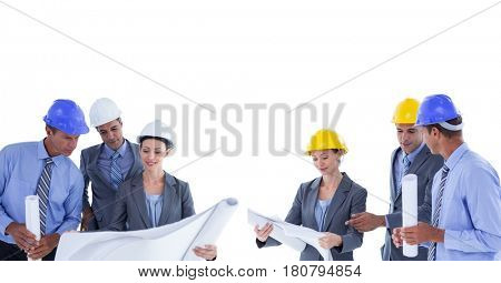 Digital composite of architects looking blueprint group collection