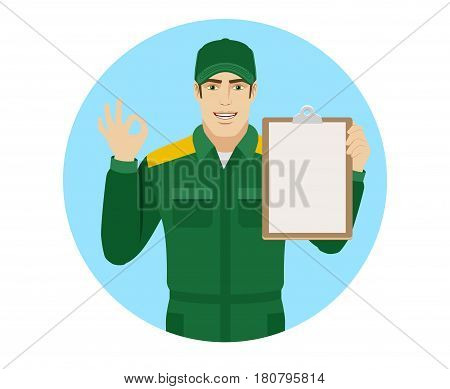 Worker holding clipboard and showing a okay hand sign. Portrait of Delivery man or Worker in a flat style. Vector illustration.