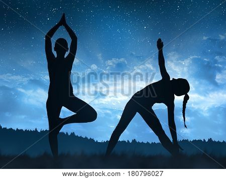 Silhouette of a girl doing yoga in the night.