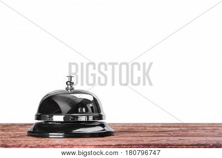 Bell at the reception in the hotel or medical hospital on a white background