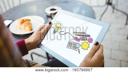 Digital composite of Woman holding digital tablet with graphics screen