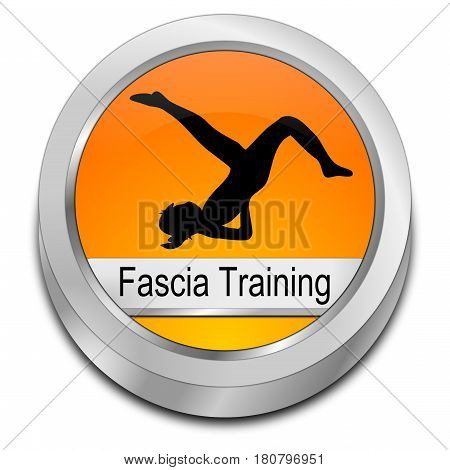 orange Fascia Training button - 3D illustration