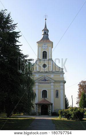 GUSCE, CROATIA - NOVEMBER 18: Parish Church of Saint Nicholas in Gusce, Croatia on November 18, 2010.