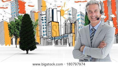 Digital composite of Digital composite of confident customer care representative standing in city