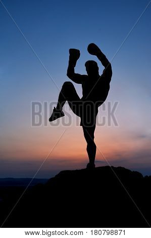 Silhouette of a male boxer practicing Muay Thai outdoors epic sunset scenery on the background copyspace kicking kickboxing boxing fighting training sports motivation nature balance preparing combat.
