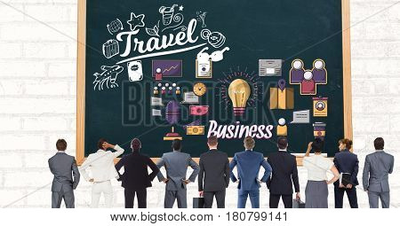 Digital composite of Digital composite image of business people looking at travel icon on chalkboard