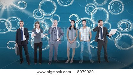 Digital composite of Digitally generated image of business people standing against tech graphics