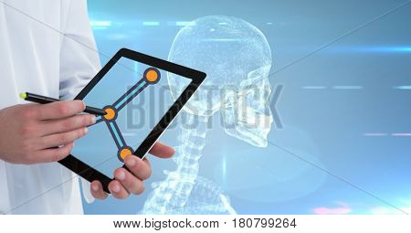 Digital composite of Midsection of doctor with digital tablet and medical interface