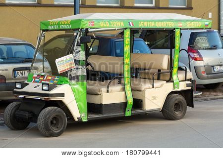 CRACOW POLAND - FEBRUARY 14 2016: Guided City Tour Car in Krakow. Poland