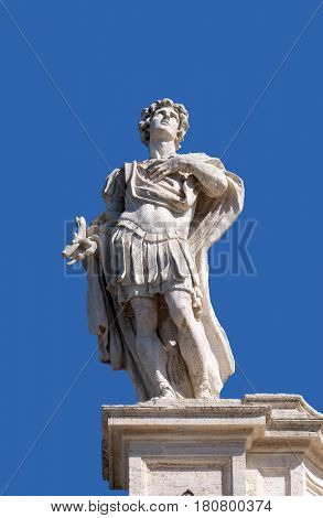 ROME, ITALY - SEPTEMBER 02:  St. Theodore, fragment of colonnade of St. Peters Basilica. Papal Basilica of St. Peter in Vatican, Rome, Italy on September 02, 2016.