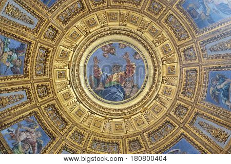 ROME, ITALY - SEPTEMBER 02: Mosaic of God the Father in the top of cupola in Chigi chapel by Luigi de Pace in Church of Santa Maria del Popolo, Rome, Italy on September 02, 2016.