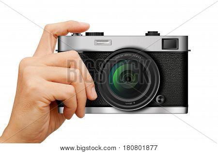 Classic rangefinder Camera in hand on white background