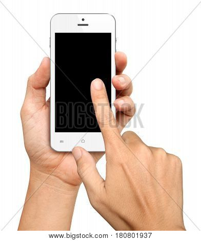 Hand holding and Touch on White Smartphone with blank screen on white background