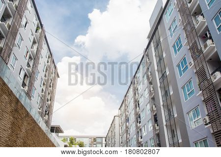 condominium building or home blue sky background in morning time