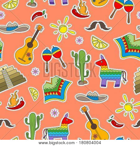 Seamless pattern on the theme of recreation in the country of Mexico colorful patches icons on a orange background
