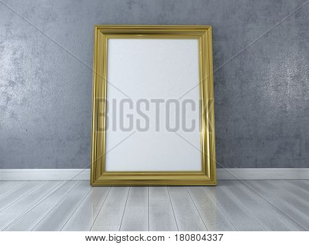 Blank picture with gold frame standing on floor. Design Template for Mock Up. 3d render