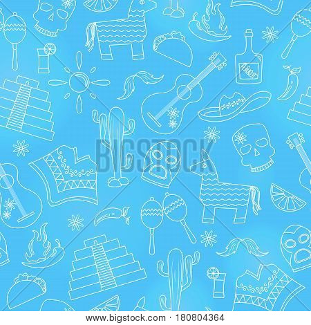 Seamless pattern on the theme of recreation in the country of Mexico light contour icons on a blue background