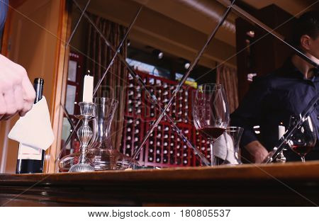 Set for wine testing on wooden table