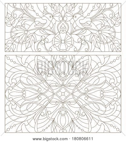 Set contour illustrations of stained glass with abstract swirls flowers and birds horizontal orientation