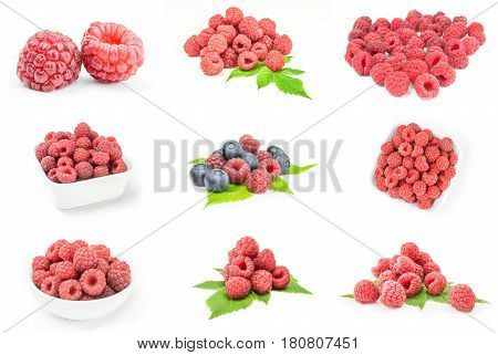 Set of rasp berry isolated on white