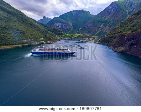 Cruise Ship, Cruise Liners On Sognefjord or Sognefjorden, Aerial photography Flam Norway