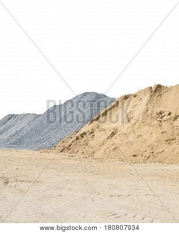 Closeup pile of sand and stone for construction work with ground isolated on white background with clipping path
