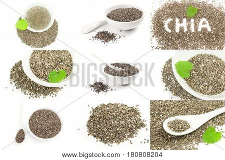 Set of nutritious chia seeds on a isolated white background
