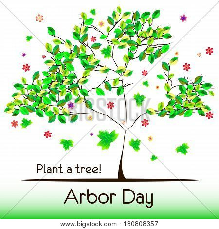 Abstract tree with green foliage isolated on white background. Plant tree in Arbor day. Vector illustration