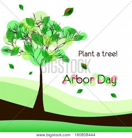 Abstract tree on meadow with green foliage isolated on white background. Plant tree in Arbor day. Vector illustration